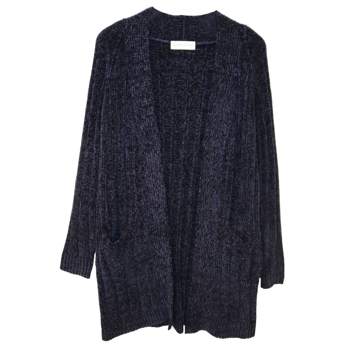 Throw It On Chenille Cardi- Navy- HR3276-NAVY