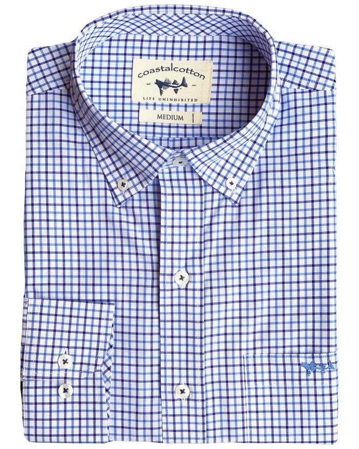 Coastal Cotton Check Oxford- Navy Check- IW-LS-SIF-C-NC
