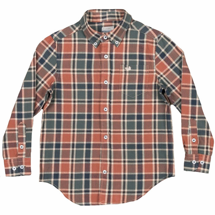 Southern Marsh Youth Ocoee Washed Plaid- Brown and Green