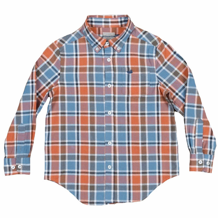 Southern Marsh Youth Ocoee Washed Plaid- Slate and Bisque