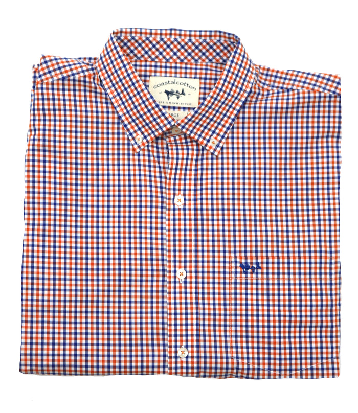 Coastal Cotton Gingham Oxford- Orange/Blue- IW-LS-SOF-C-OBG