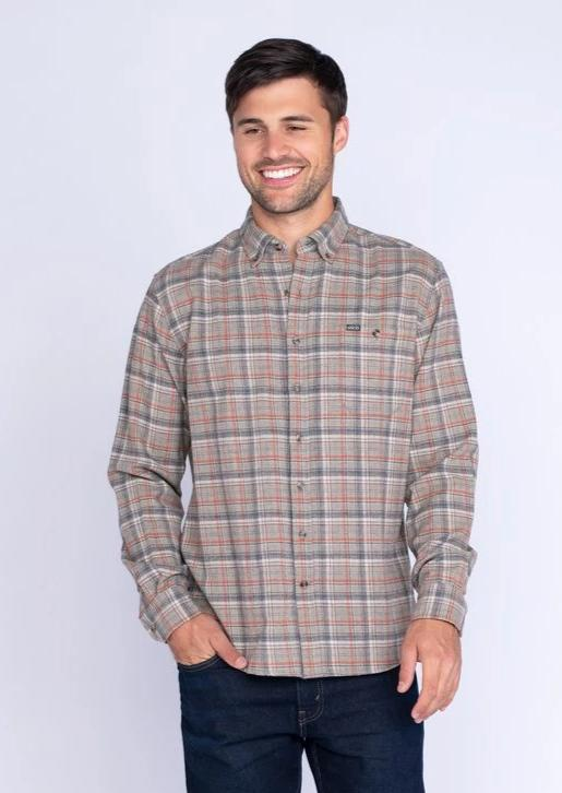 Southern Shirt Company Porter Heather Flannel- Spanish Moss- PORTER HEATHER FLANNEL L/S-SPA