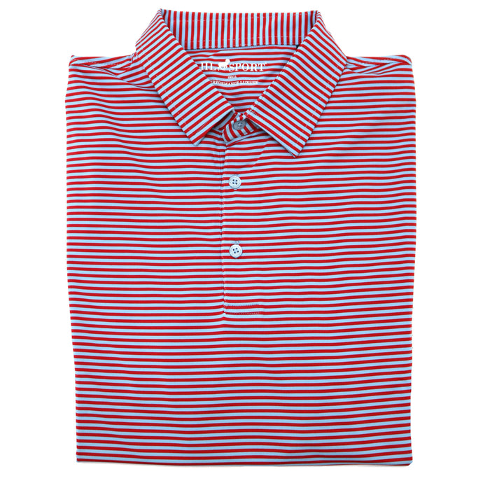 Horn Legend Stripe Polo 1030- Powder blue/Red-HL1030TBP-POW/RED