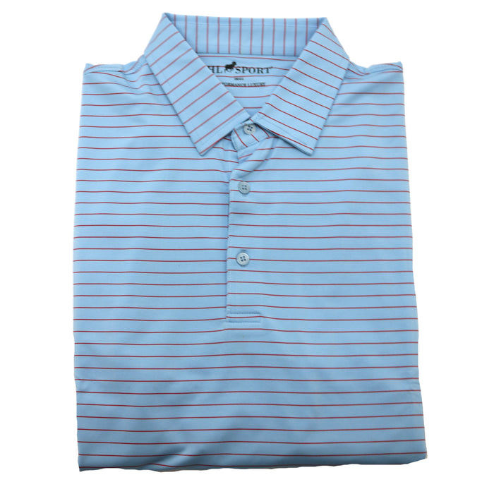 Horn Legend Stripe Polo 1018-Powder Blue/Red- HL1018TBP-POW/RED