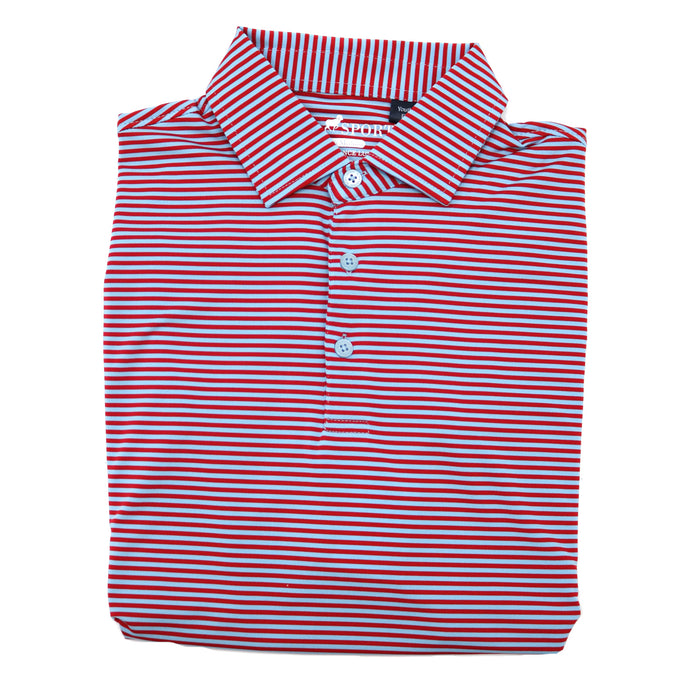 Horn Legend Youth Stripe Polo 1030- Powder Blue/Red- HL1030YTBP-POW/RED