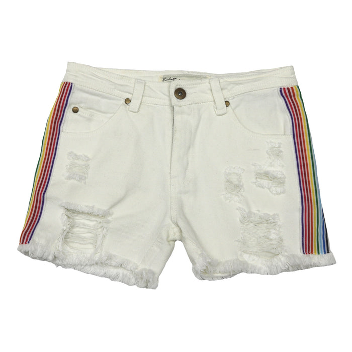Over The Rainbow Denim Short- CC7398-WHT
