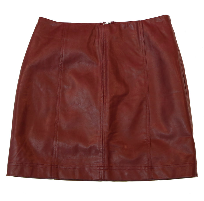 Work To Play Leather Skirt - SL7508-WINE