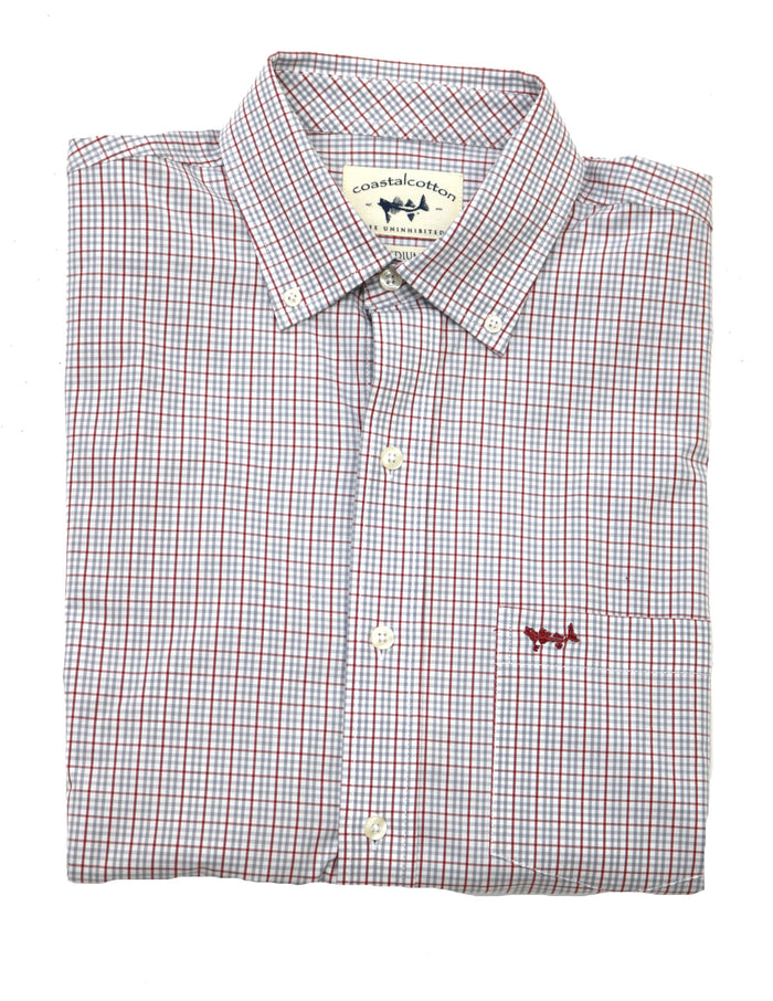 Coastal Cotton Performance Plaid Oxford- Crimson/Grey- IW-LS-SIF-C-CGP