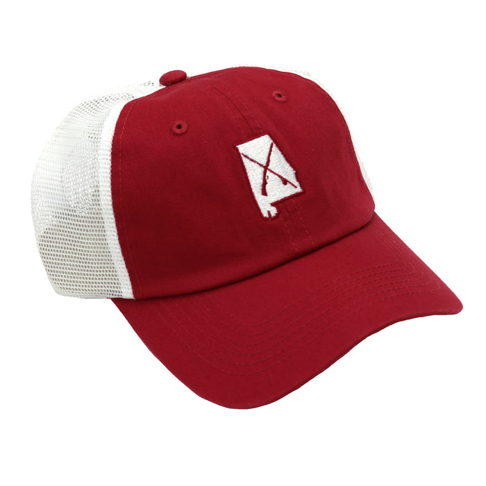 Bama Wild Gun and Rod Crossing Trucker Hat- Brick/ White
