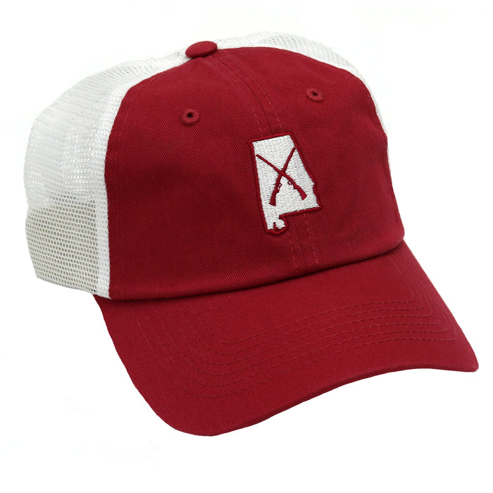 Bama Wild Guns Crossing Trucker Hat- HCMBL GUN RED