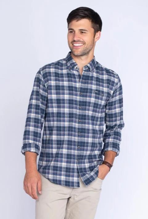Southern Shirt Company Riverchase Heather Flannel- Esate Blue- RIVERCHASE HEATHER FLANNEL L/S-E