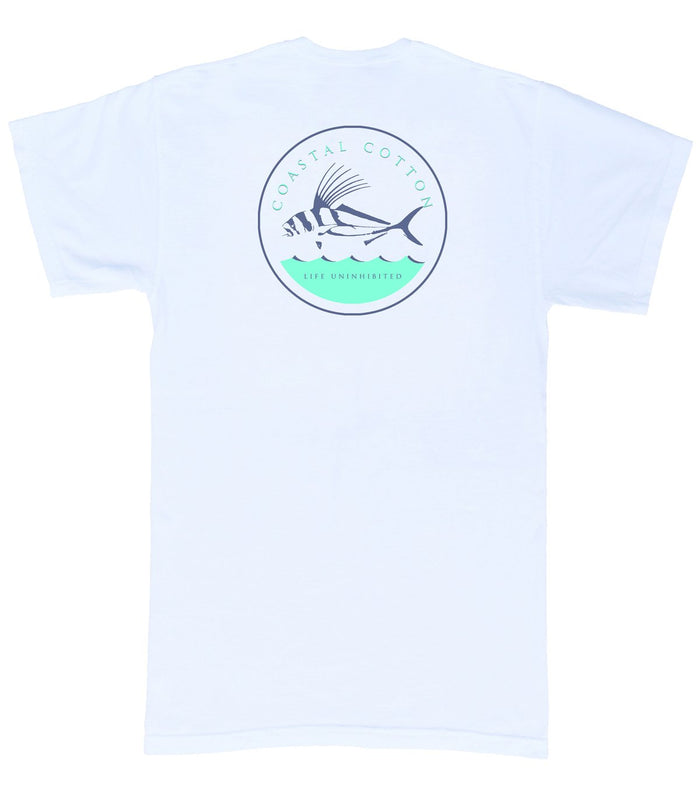 Coastal Cotton S/S Rooster Fish Tee- White- IT-SS-RF-WH