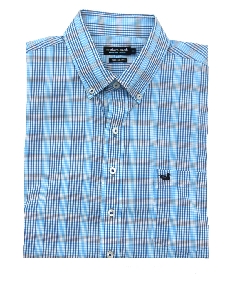 Southern Marsh Franklin Performance Gingham Short Sleeve Button Down
