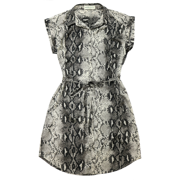Button Front Snakeskin Dress- SL8993-MOC