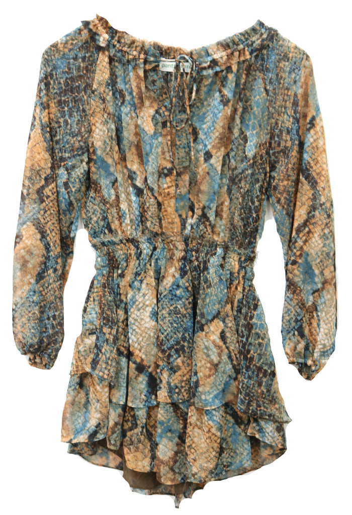 Colors Of The Wind Dress- Brown Teal Snake- 69-205LDJ