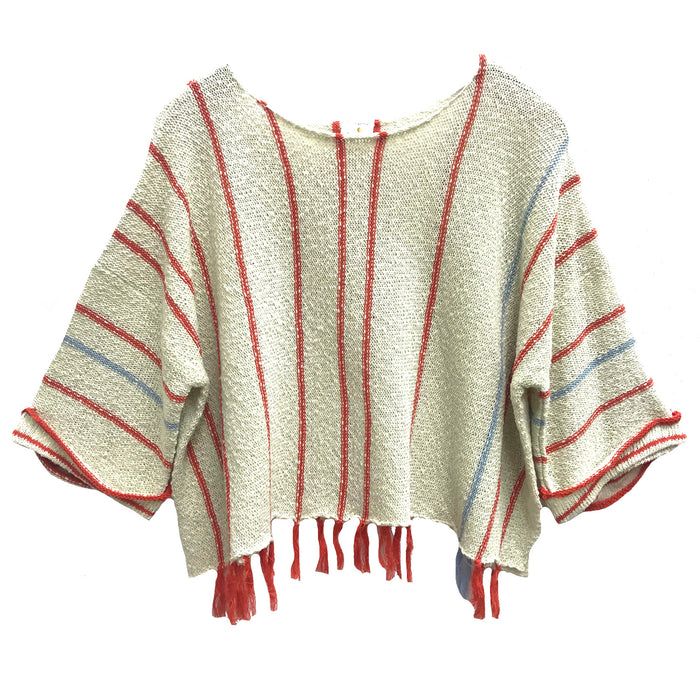 By Together Striped Knit Sweater- L2892-NAT/ORG