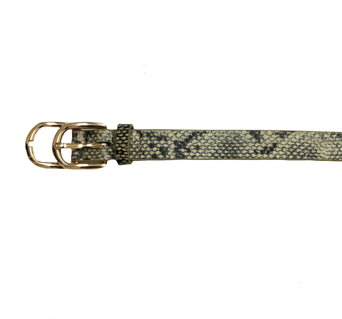 Snakeskin Faux Leather Belt- Tan/black snake- JOIA-3827-TANBLACK
