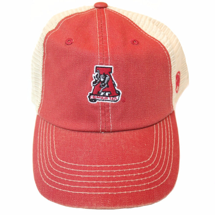 Alabama Trucker Hat with Retro Alabama Logo- Crimson