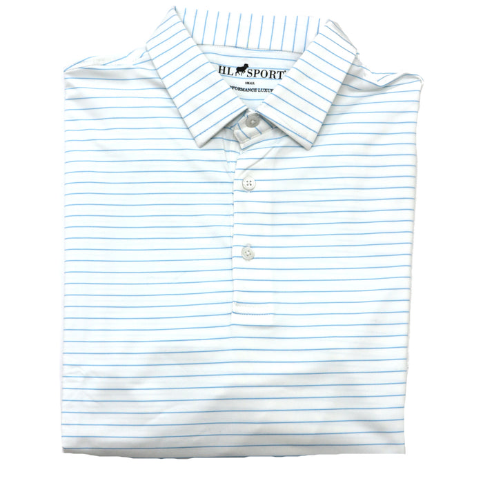 Horn Legend Stripe Polo 1018- White/Powder Blue-HL1018TBP-WHT/POW
