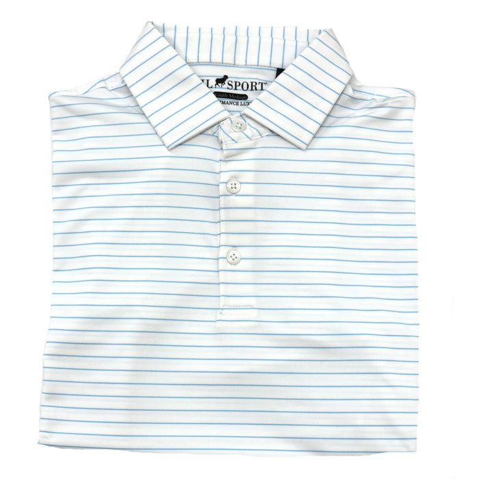 Horn Legend Youth Stripe Polo- White/Powder Blue -HL1018YTBP-WHT/POW