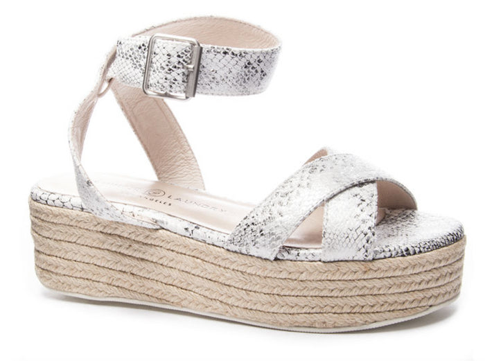 Chinese Laundry Zala Wedge- White/Silver