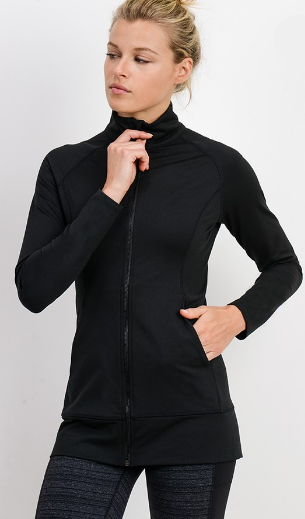 Work Out Girly Jacket- Black- AJ2446