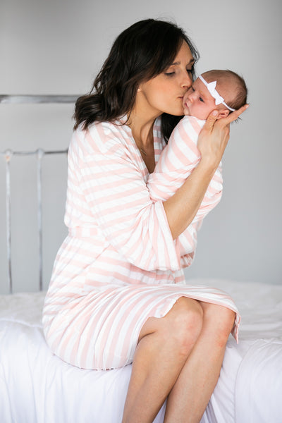 Blush & White Striped Maternity Robe, Baby Swaddle, & Matching Bow