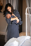 Navy & White Striped Maternity Robe and Baby Swaddle
