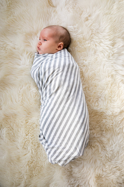 Grey & White Striped Maternity Robe and Baby Swaddle