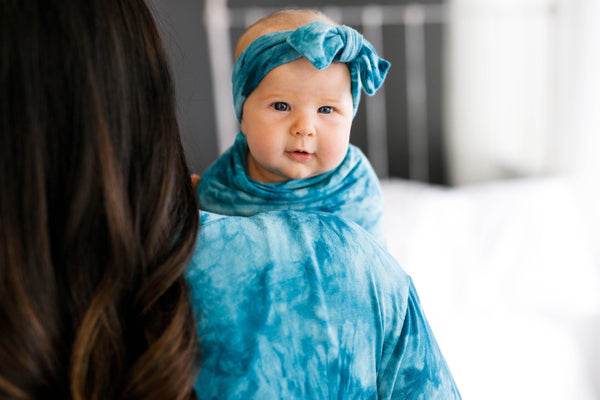 Teal Tie Dye Maternity Robe, Matching Swaddle and Matching Bow