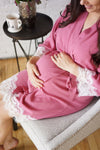 Lace Trim Maternity Robe