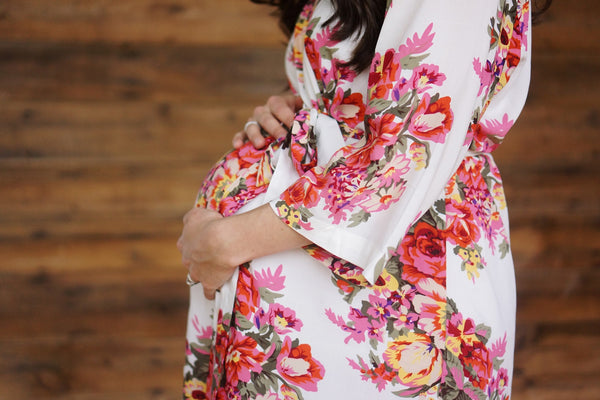 Large Print Floral Maternity Robe