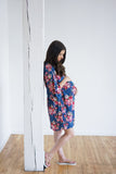 Small Print Floral Maternity Robe