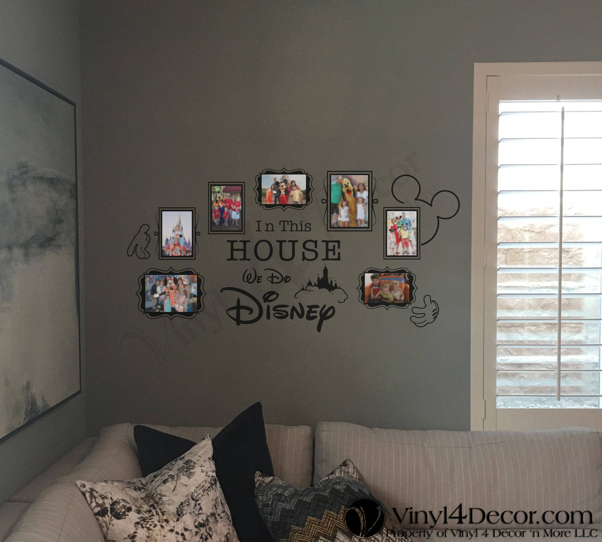 In This House Disney We Do Disney Photo Frames 5 4 X 6 And 2 5 X 7 Vinyl Decal Disney Wall Decal Sticker Bc824