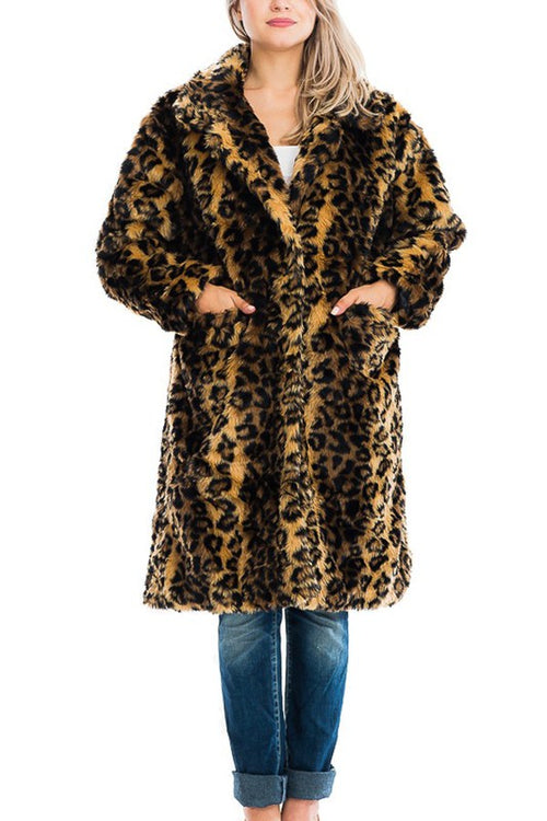 Leopard (faux fur) Swing Coat with pockets