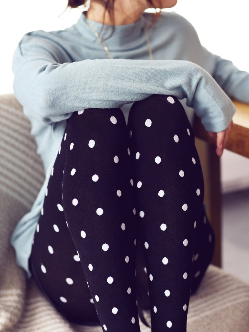 Warm + Cozy Black White Polka Dot Tights