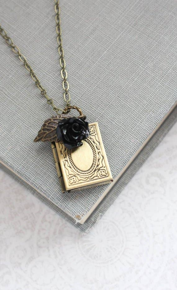 Book Locket Necklace Brass