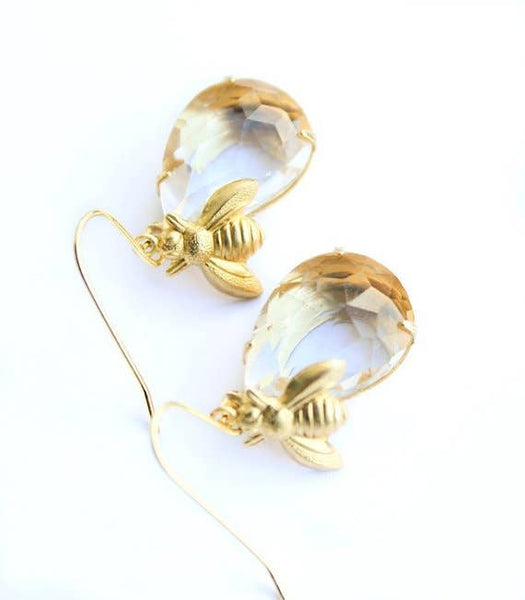 Honey Bee Earrings - glass drop earrings