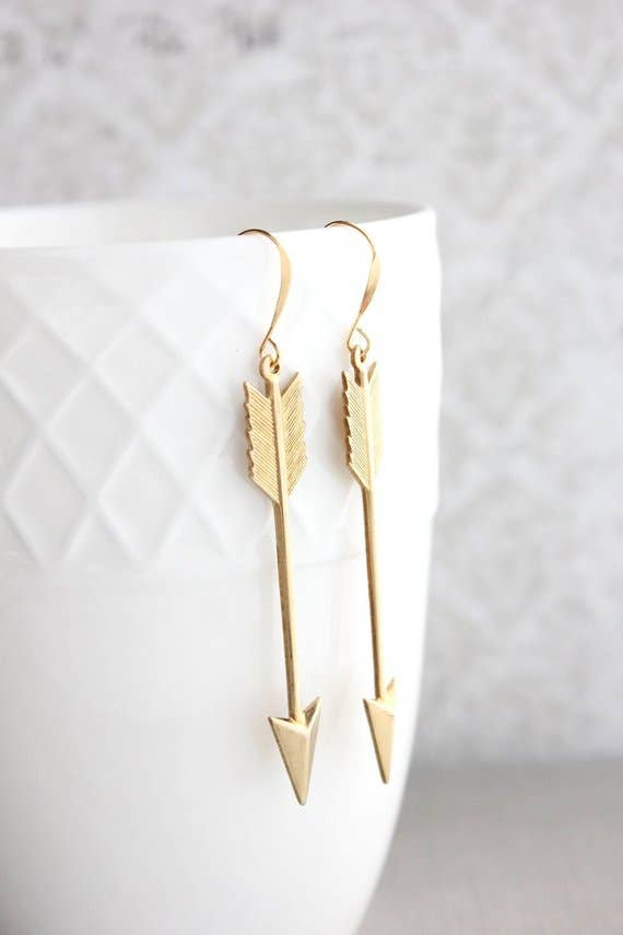 Golden Arrow Earrings - Long Dangle