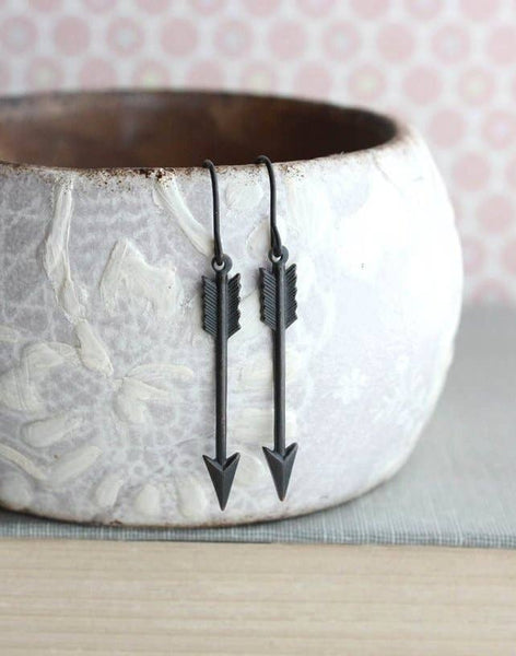 Black Arrow Earrings - Boho style - Small Dangle