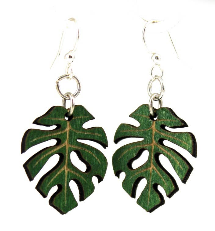 Green Tree Jewelry - Split Leaf Philodendron Leaf Blossoms Earrings