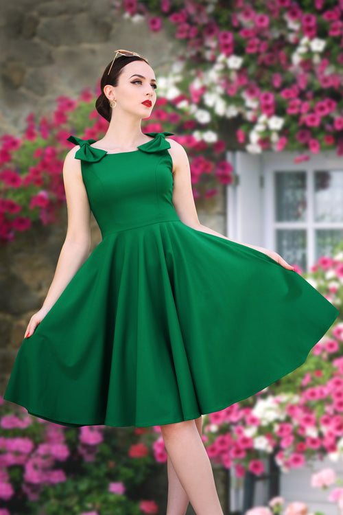 Emerald Bow Swing Dress