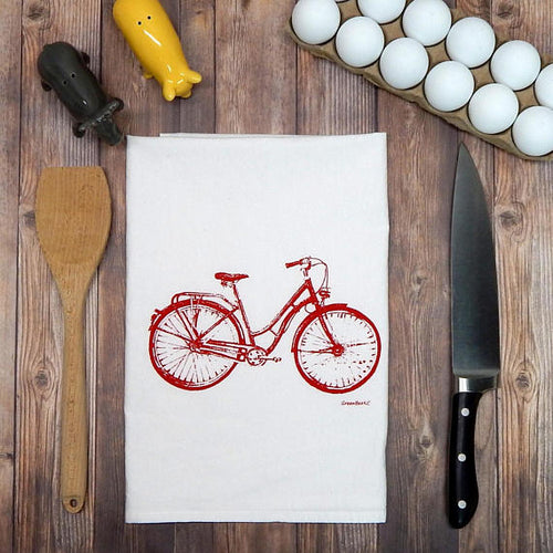 Green Bee KC Tea Towels - Bicycle Flour Sack Tea Towel - Bike Tea Towel