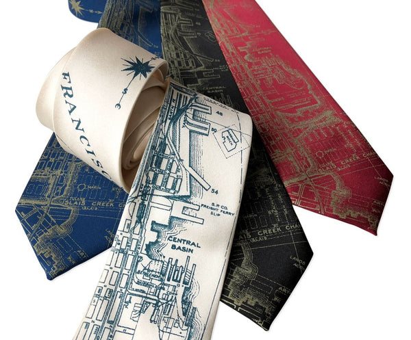 Cyberoptix Tie Lab - San Francisco Bay Map Necktie, Vintage California Print Tie