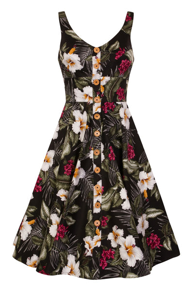Tiki time swing dress with pockets in black