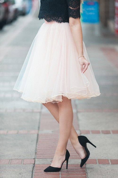 Pretty Tulle Skirt (peachy blush or black)