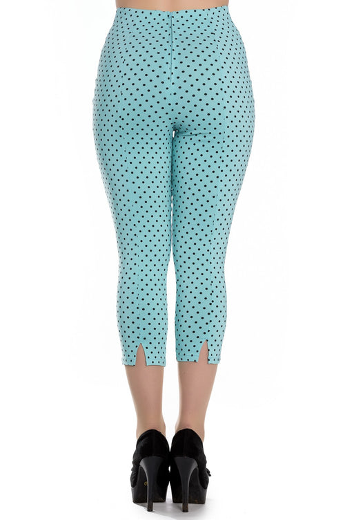 Teal and Black Polka Dot Capri Pants