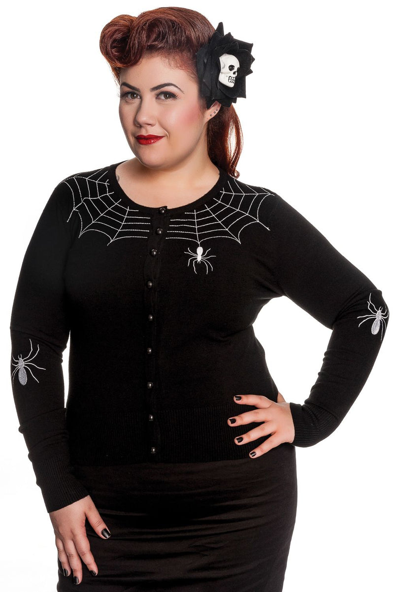 Classic 50's Cardigan in Black Spiderweb