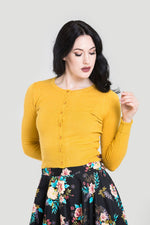 Classic 50's Cardigan in Mustard Yellow