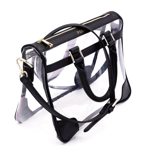 Policy Handbags - Clear Tote Bag- Black